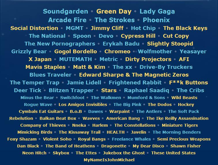 lollapalooza 2010 lineup announced pearl snap discount. Black Bedroom Furniture Sets. Home Design Ideas